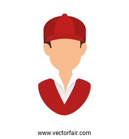 delivery worker with cap uniform