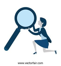businesswoman with magnifying glass avatar character