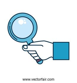hand with magnifying glass isolated icon
