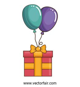 gift box present with balloons air