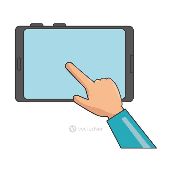 hand user with smartphone isolated icon
