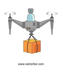 isolated drone flying technology with box