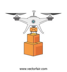 drone flying technology with boxes