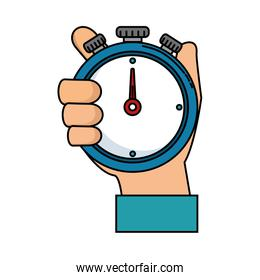 hand human with chronometer timer isolated icon