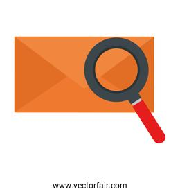 mail envelope with magnifying glass