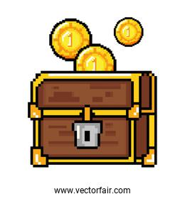 pixelated treasure chest with coins