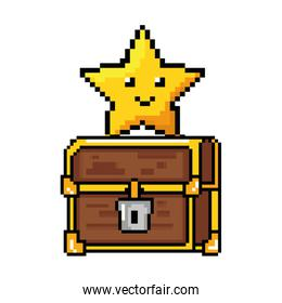 pixelated treasure chest with star