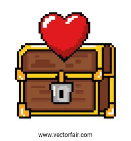 pixelated treasure chest with heart