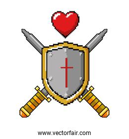 pixelated shield with sword and heart game icon