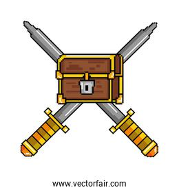 pixelated treasure chest with swords