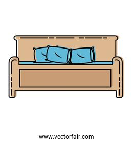 comfortable bed isolated icon