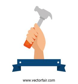 hand worker with hammer tool isolated icon