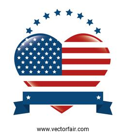 united states of america with heart emblem frame
