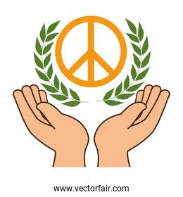 hands human protection with peace and love symbol