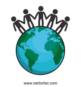 world planet with people around