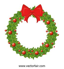 merry christmas wreath crown with bow