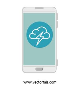 smartphone with storm cloud weather application