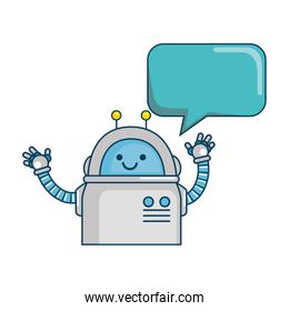 electronic robot with speech bubble character