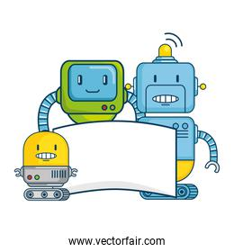 electronic robots with banner characters