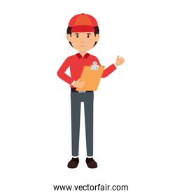 delivery worker with clipboard avatar character