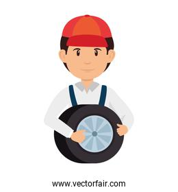 mechanic with tire avatar character