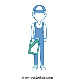 mechanic with gallon avatar character