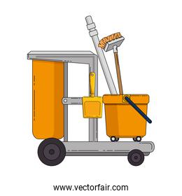 toilet trolley with broom and dustpan