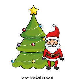 merry christmas pine tree with santa claus character