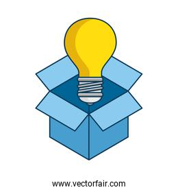 box with bulb light isolated icon