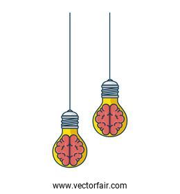 bulbs light with brains hanging icon