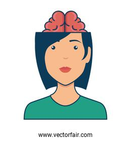 woman with brain avatar character