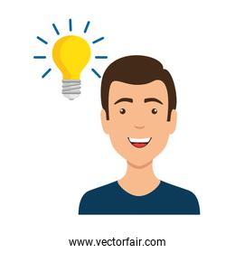 young man with bulb avatar character