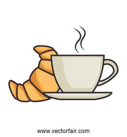 delicious croissant with coffee cup