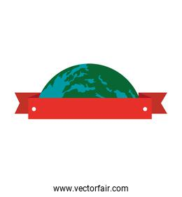 world planet earth with ribbon