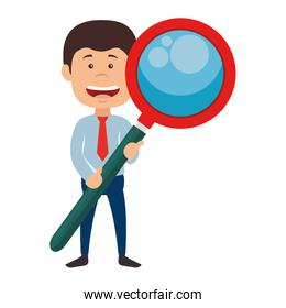 businessman with masgnifying glass avatar character icon