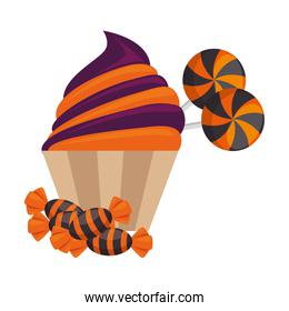 sweet candies and cupcake halloween icon