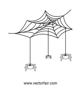 cute spiders with spiderweb halloween decoration