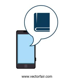 smartphone device with speech bubble and ebook