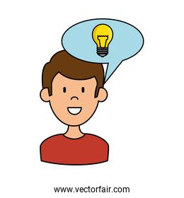 man with speech bubble and bulb