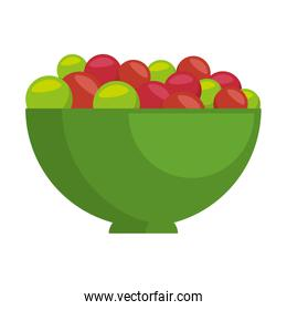 bowl with fresh grapes