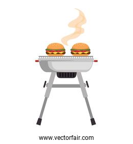grill oven with burgers