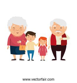 couple of grandparents with grandchildren avatars characters