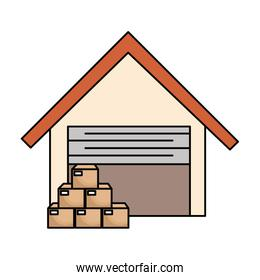 warehouse building with boxes