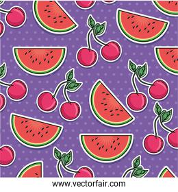 watermelon and cherry pattern background
