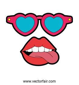 pop art lips with sunglasses