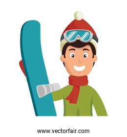 young man with ski equipment