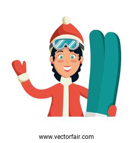 woman skiing with winter clothes
