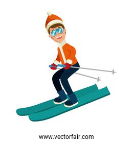 young man skiing with winter clothes