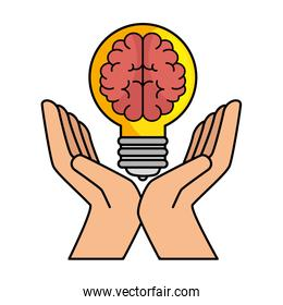 bulb light with brain and hands