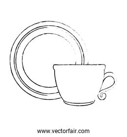 dish with cup isolated icon